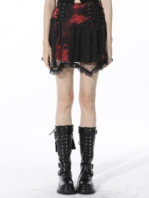 Black and Red Gothic Punk Mesh Irregular Mini Skirt