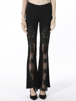 Black Sexy Gothic Lace Daily Wear Long Bell Trousers for Women