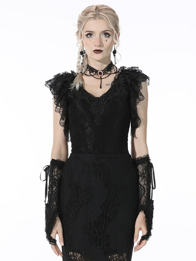 Black Gothic Lace Short Sleeves Daily Wear Top for Women