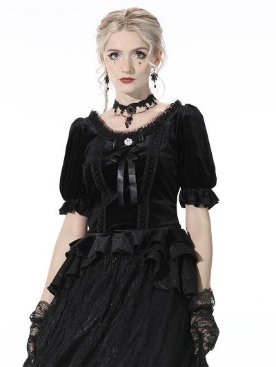 Black Vintage Gothic Cute Velvet Short Sleeves Top for Women