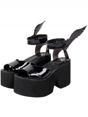 Black Gothic Wings PU Leather High Heel Platform Sandals