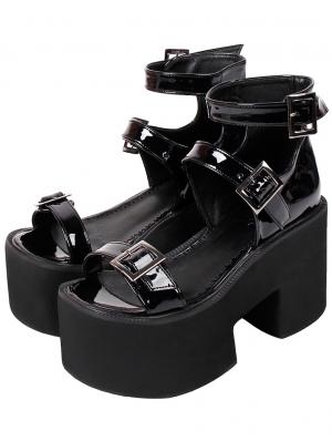 Black Gothic Punk PU Leather High Heel Platform Sandals