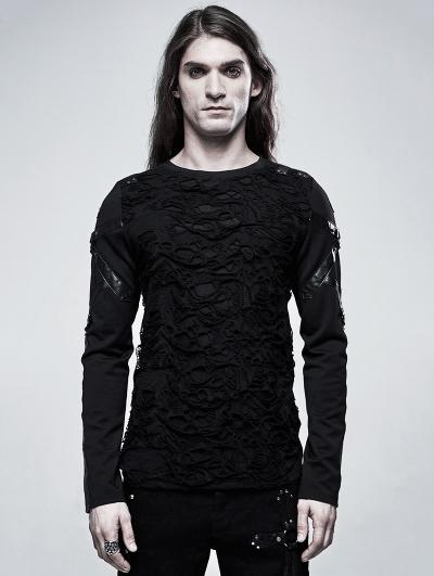 Black Gothic Church Building Structure Broken Long Sleeve T-Shirt for Men