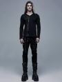 Black Gothic V-Neck Long Sleeve Casual T-Shirt for Men