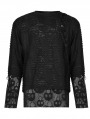 Black Gothic Ghost Head Printed Long Sleeve T-Shirt for Men