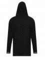 Black Gothic Simple Hooded Two-Pieces T-Shirt for Men