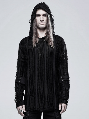 Black Gothic Loose Knit Hoodie for Men