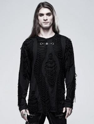 Black Gothic Punk Broken Long Sleeve Daily Wear T-Shirt for Men