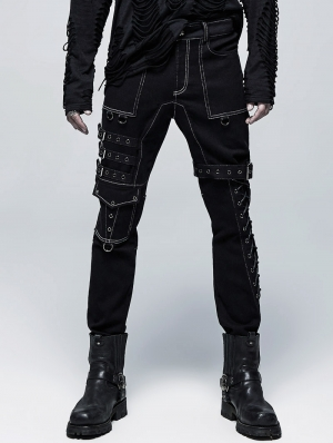 Black and White Gothic Punk Metal Straight Long Pants for Men
