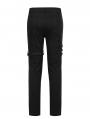 Black Gothic Punk Metal Straight Long Pants for Men