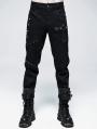 Black Gothic Punk Rivet Straight Long Pants for Men