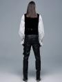 Black Gothic Punk Elastic PU Leather Long Pants for Men