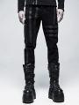 Black Gothic Punk Belt Daily Wear Long Pants for Men