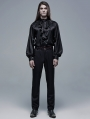 Black and Red Gothic Cout Bat Pocket Long Pants for Men