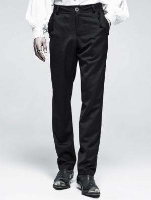 Black Gothic Cout Bat Pocket Long Pants for Men
