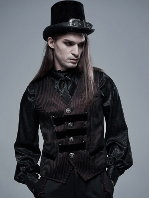 Dark Red Striped Vintage Gothic Vest for Men