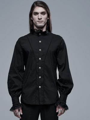 Black Retro Gothic Aristocratic Long Sleeve Shirt for Men