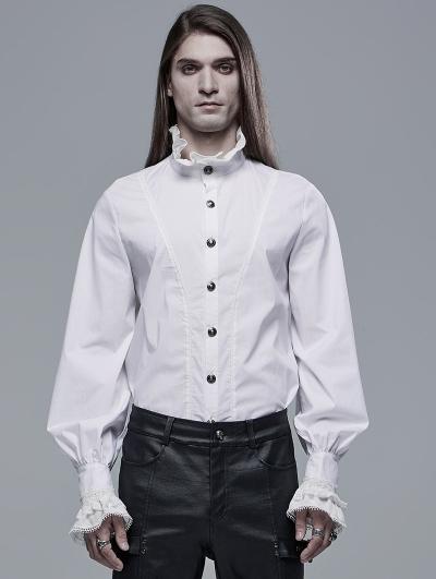 White Retro Gothic Aristocratic Long Sleeve Shirt for Men