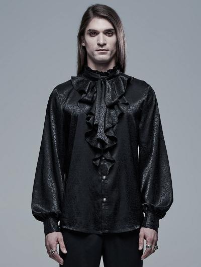 Black Retro Gothic Vampire Count Long Sleeve Shirt for Men