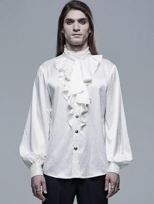 White Retro Gothic Vampire Count Long Sleeve Shirt for Men