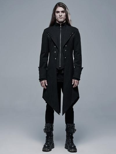 Black Gothic Punk Striped Long Jacket for Men
