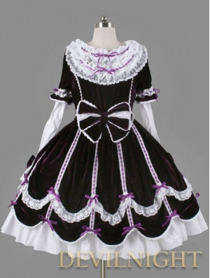 Purple and White Long Sleeves Sweet Bow Gothic Lolita Dress