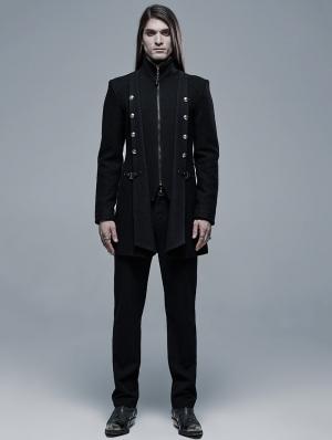 Black Gothic Punk Daily Wear Woollen Jacket for Men