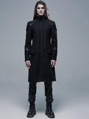 Black Gothic Simple Woollen Long Coat for Men