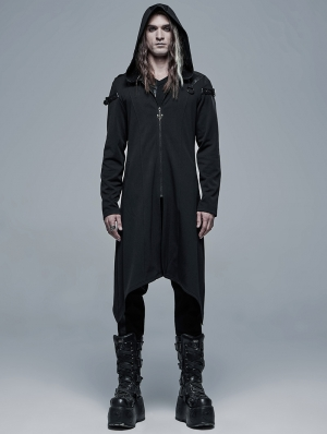 Black Gothic Dark Church Structure Long Hooded Trench Coat for Men