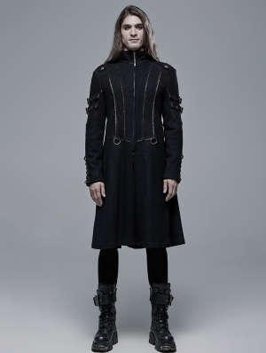 Black Gothic Punk Military Casual Mid Length Coat for Men