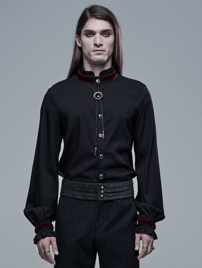 Black and Red Retro Gothic Palace Long Sleeve Shirt for Men