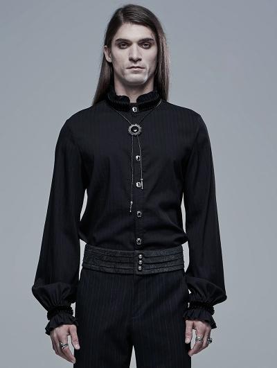 Black Retro Gothic Palace Long Sleeve Shirt for Men