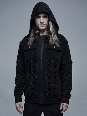 Black Gothic Daily Wear Hooed Cardican for Men