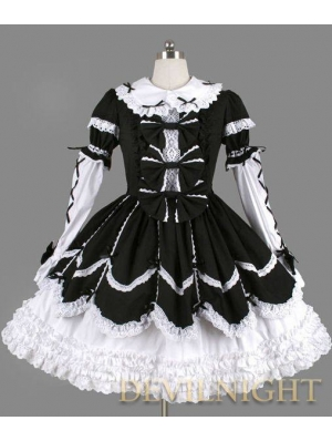 Black and White Long Sleeves Ribbon Bow Gothic Lolita Dress