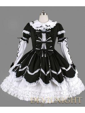 Black and White Long Sleeves Ribbon Bow Gothic Lolita Dress