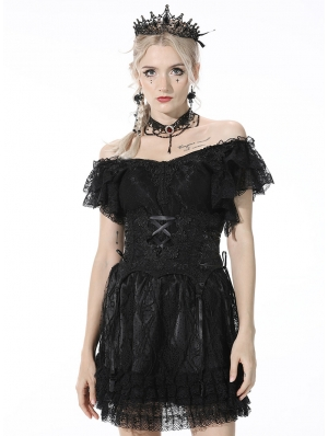 Black Gothic Lace Embroidery Underbust Corset