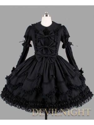 Black Long Sleeves Ribbon Bow Gothic Lolita Dress