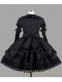 Black Long Sleeves Ribbon Bow Gothic Lolita Dress