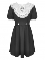 Black and White Gothic Alice in Wonderland Short Sleeve Dress