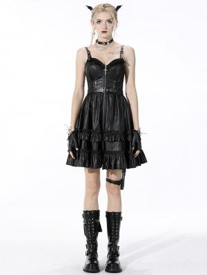 Black Gothic Rebel Locomotive Girl PU Leather Short Strap Dress