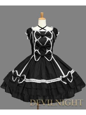 Black and White Lace Cap Sleeves Halter Sweet Bow Gothic Lolita Dress
