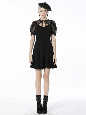 Black Gothic Lace Daily Wear Short Dress