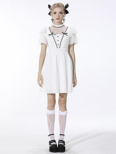 White Cute Gothic Soulless Princess Short Sleeve Dress
