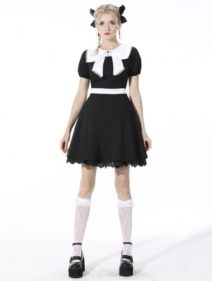 Black and White Cute Gothic Bow Daily Wear Short Dress