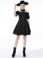 Black Gothic Off-the-Shoulder Daily Wear Short Dress