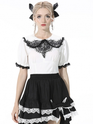 White and Black Lace Sweet Gothic Short Top for Women