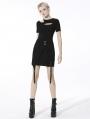 Black Gothic Punk Asymmetrical Daily Wear Mini Skirt