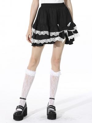 Black and White Cute Gothic Lolita Bow Mini Skirt