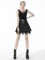 Black Gothic Punk Skull Irregular Pleated Mini Skirt