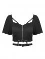 Black Gothic Grunge Daily Wear Short Top for Women
